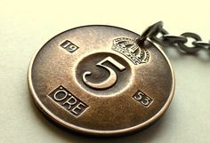 Swedish coin keychain Swedish keychain Vintage by CoinStories