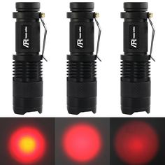 AR happy online 3 Pack Zoomable Red Light Cree LED 3 Modes Mini Flashlight Tactical Torch with Clip 300lm Adjustable Focus Light (Black Shell/Red Light) -- Click image to review more details.