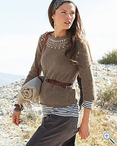 fair isle sweater, belt, and a pop of striped shirt
