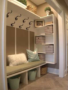 Just a few weeks ago I helped a client turn an unorganized unused hall closet into a family friendly mud room. Thought I would share& The post Just a few weeks ago I helped a client turn an unorganized unused hall closet in& appeared first on Dekoration. Front Closet, Hallway Closet, Closet Mudroom, Closet Storage, Closet Doors, Closet Bench, Corner Closet, Closet Shelving, Entry Hallway