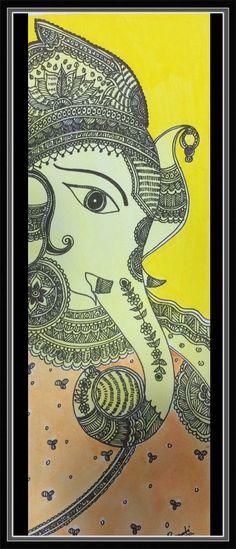 Ganesh madhubani Giclee art print/ peetambara by MyCuteFrills