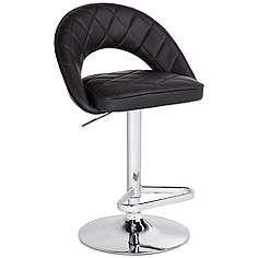 Illy Black Faux Leather Adjustable Barstool