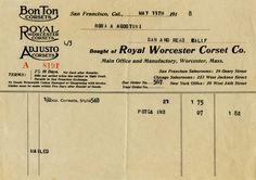 Royal Worcester Corset Invoice ~ Free Vintage Image