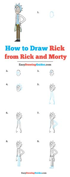 How to Draw Rick from Rick and Morty - Really Easy Drawing Tutorial <br> Learn to draw Rick from Rick and Morty. This step-by-step tutorial makes it easy. Kids and beginners alike can now draw a great looking Rick from Rick and Morty. Easy Drawing Tutorial, Drawing Tutorials For Kids, Art Tutorials, Drawing Lessons, Drawing Tips, Cartoon Drawings, Easy Drawings, Rick Und Morty Tattoo, Rick And Morty Drawing