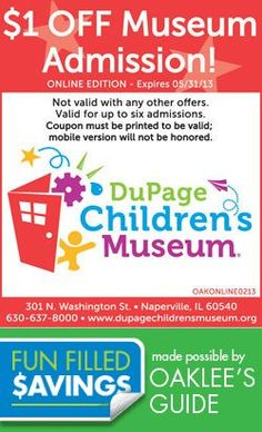 DuPage Children's Museum Coupons Great coupons for fun in the Chicago Area for the whole family Local Coupons, Chicago Attractions, Family Events, Activities To Do, Children's Museum, Chicago Area, Fun, Poster, Products