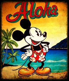 Mickey Mouse painting aloha beach art