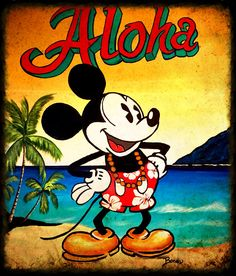 Mickey Mouse painting aloha beach art