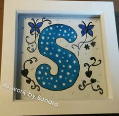 Hand painted initial designs various sizes possible. This one box frame Sq Painted Initials, Hand Painted, Art Paintings For Sale, Box Frames, Lettering, Artwork, Pictures, Design, Home Decor
