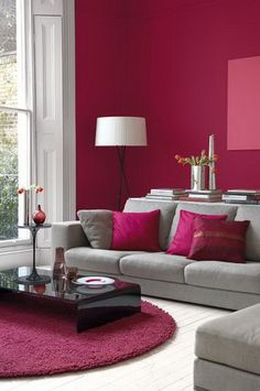 Red Modern Living Room Beautiful Red Interior Design Ideas for Modern Houses Living Room Color Schemes, Living Room Colors, Home Living Room, Living Room Designs, Living Room Decor, Colour Schemes, Lights For Living Room, Living Room Paint Design, Sofa Colour Combinations