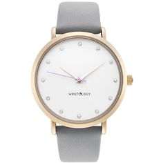 Amazon.com: WRISTOLOGY Olivia Womens Crystal Gold Boyfriend Watch Grey Leather Strap: WRISTOLOGY: Watches