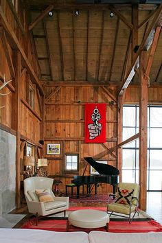 Living Room, Michigan Barn by Northworks Architects and Planners