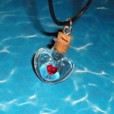 Zelda - Heart Container Potion - Bottle Charm Necklace. $16.00, via Etsy.