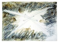 """HIDETOSHI NAGASAWA, """"Disegno con cera"""" 1993, carta, matita e cera, cm 56x76"""
