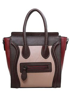 Baginc Vanessa Mini Tote In Smooth Leather Choco/pink/burgundy From The Plus Size Fashion Community At www.VintageAndCurvy.com