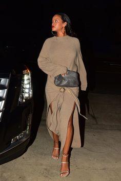 Rihanna's Nanushka Sweater Dress Is Perfect For Summer Nights — British Vogue – sweater Look Fashion, Autumn Fashion, Girl Fashion, Fashion Outfits, Womens Fashion, Rhianna Fashion, Dress Fashion, Runway Fashion, Rihanna Mode