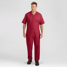 Dickies Big & Tall Short Sleeve Coverall- Red XL Tall