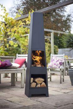 Chiminea Outdoor Fireplace Fire Pits Chimney Patio Backyard Heater Modern Garden #LaHacienda