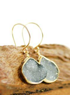 Kainehe earrings grey druzy gold earrings gold by www.kealohajewelry.etsy.com maui, hawaii