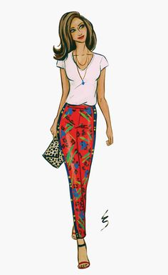 Lydia Snowden Illustration. Fashion Illustration. Red pants with exotic print, white shirt, leopard print clutch.