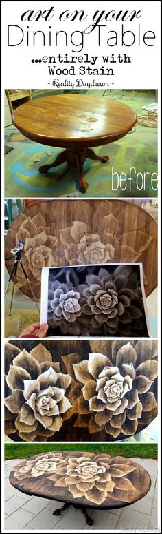 Make your old wooden dining table a custom piece of ART with this staining technique... IT'S EASIER THAN IT LOOKS! {Reality Daydream}