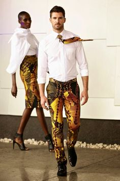 David Tlale 2015 Africa Latest African Fashion, inspired by Gabon cutlure African Fashion Designers, Male Fashion Trends, African Inspired Fashion, African Print Fashion, Fashion Mode, Africa Fashion, Ethnic Fashion, Look Fashion, Mens Fashion