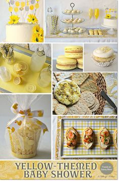 Yellow-themed Baby Shower Ideas with a Chic and Modern Style. Features a sweets and cake table, decor, and menu ideas.