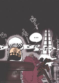 Donquixote Doflamingo, Den Den Mushi, Transponder Snail, Law, text, manga, music, phonograph; One Piece