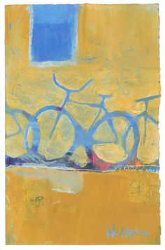 Posse  6 x 9 mixed media painting on paper    My series of bicycle paintings are inspired by the simple pleasure of riding a bike and the
