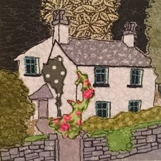 Dove Cottage textile art picture
