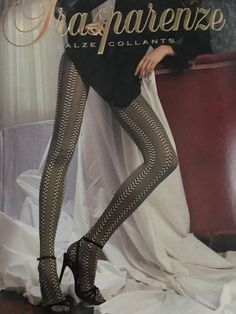 Trasparenze Tights Stockings Italian Patterned Made In Italy sz M-3 Black White #Trasparenze #Tights