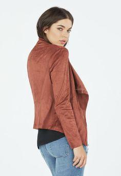 Faux Suede Draped Front Jacket Kleidung in Terracotta - günstig kaufen bei JustFab