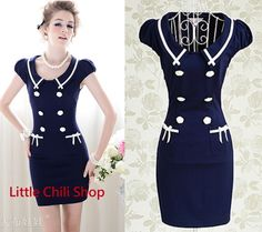 Women Fashion Boho Preppy 50S Collegiate Sweet Slim Sexy Dress Dresses Blue