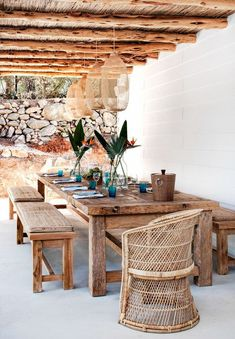 Home Tour: Sophisticated Island Living on Ibiza - Outdoor Areas, Outdoor Tables, Outdoor Decor, Outdoor Lighting, Lighting Ideas, Patio Tables, Outdoor Patios, Farm Tables, Wood Tables