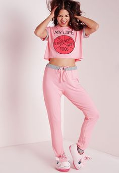 My Life Pyjama Set Pink - Nightwear - Pyjamas - Missguided Pajamas For Teens, Cute Pajamas, Satin Pyjama Set, Pajama Set, Pajama Pants, Womens Fashion Online, Latest Fashion For Women, Pyjamas, Le Style Du Jenner