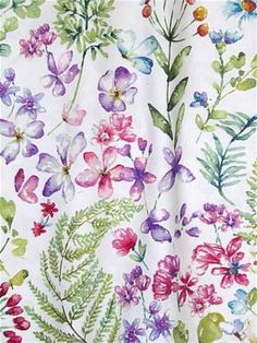 Botanical floral watercolor print on fine cotton twill from Covington Fabric. White background with berry colored flowers & green leaves. Great for window treatments, upholstery or bedding. Covington Fabric, Floral Fabric, Watercolor Print, Green Leaves, Window Treatments, Berries, Turquoise, Purple, Flowers