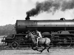 (Was this ever really a thing?  I mean, racing an express train on a horse?  Seriously?)