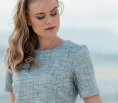 The Magee 1866 Mya dress featuring micro patch pockets, crew neck and short sleeves is inspired by the iconic crop dresses of the 1960's. The fabric is full of vibrant colour, texture and fun, just like the ebullient era that inspired the look. Wear with Beatrice cardigan and sling-backs for a vintage inspired summer look.