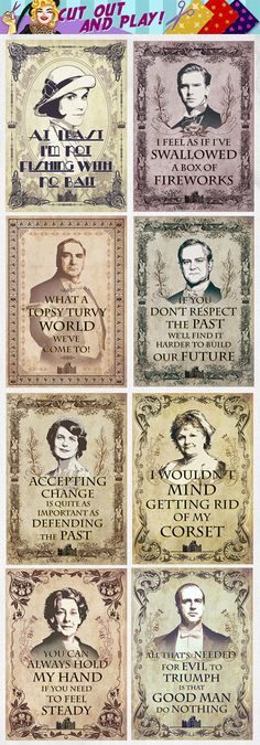 Downton Abbey quotes party printables, Lady Mary Crawley, MrCarson # DowntonAbbeyparty # DowntonAbbeyquotes