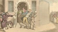 'The Prisoner Discharged' English Dance of Death, Thomas Rowlandson, 1814 Dance Of Death, Danse Macabre, Flora And Fauna, Medieval, Prisoner, English, Painting, Art, Printmaking