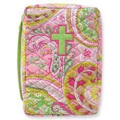 quilted Bible cover with appliqued cross