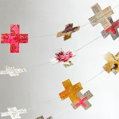 Cross garland...would be super cool with baby clothes that you can't bear to part with