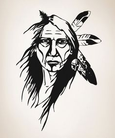 Native American Drawing, Native American Warrior, Native American Indians, Wall Decal Sticker, Vinyl Decals, Stencil Art, Stencils, Indian Drawing, Pierre Brice