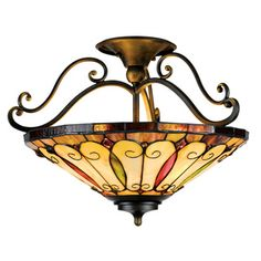 Tiffany-Style 3-light Imperial Bronze Semi-Flush Mount
