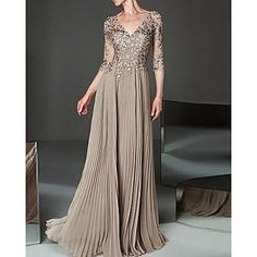 Mother Of The Bride Dresses Long, Mother Of Bride Outfits, Sequin Appliques, Beaded Chiffon, Beaded Lace, Floor Length Dresses, 98, Elegant Dresses, Plus Size Dresses