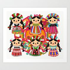 Mexican Dolls Art Print by Alapapaju - $15.60