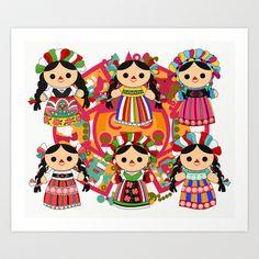 Mexican Dolls Art Print by Alapapaju - $15.60