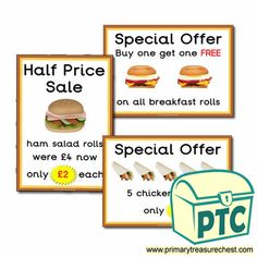 Sandwich Shop Role Play Resources - Primary Treasure Chest Ourselves Topic, Salad Rolls, Ham Salad, Sandwich Shops, Role Play, Buy One Get One, Treasure Chest, Sandwiches, Restaurant