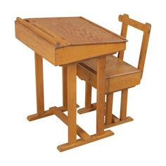 Child's school desk and chair Retro Furniture, Antique Furniture, School Desks, Mid Century Furniture, Desk Chair, Stool, Table, Home Decor, Standing Desks