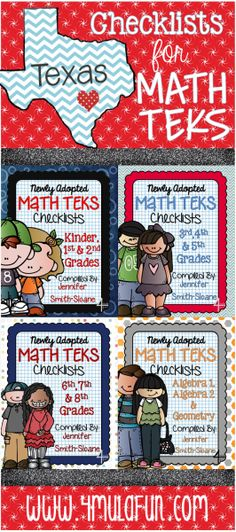 FREE Checklists for Math TEKS Newly Adopted- Kindergarten through High School
