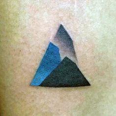 Minimalist Small Mountains Guys Triangle Tattoo